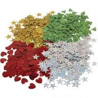 Christmas sequins, size 14-16 mm, 4x20 g/ 1 pack