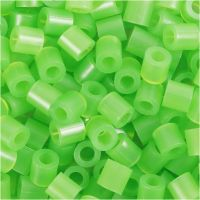 Fuse Beads, size 5x5 mm, hole size 2,5 mm, medium, neon green (32237), 1100 pc/ 1 pack