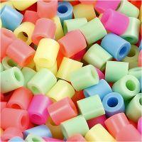 Fuse Beads, size 5x5 mm, hole size 2,5 mm, medium, pastel colours, 30000 asstd./ 1 pack