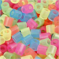 Fuse Beads, size 5x5 mm, hole size 2,5 mm, medium, neon colours, 5000 asstd./ 1 bucket
