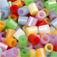 Fuse Beads, size 5x5 mm, hole size 2,5 mm, medium, mother of pearl colours, 30000 asstd./ 1 pack