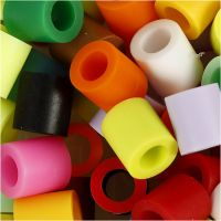 Fuse Beads, size 10x10 mm, hole size 5,5 mm, JUMBO, additional colours, 550 asstd./ 1 pack