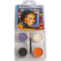 Eulenspiegel Face Paint - Motif Set, halloween witch, assorted colours, 1 set