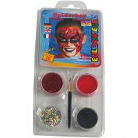 Eulenspiegel Face Paint - Motif Set, spiderman, assorted colours, 1 set