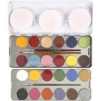 Water-based Face Paint, assorted colours, 24 colour/ 1 set