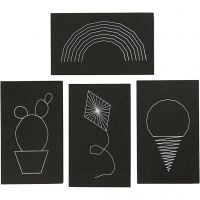 String Art, size 20x12 cm, thickness 10 mm, black, 16 pc/ 1 pack