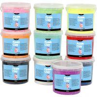 Foam Clay®, glitter, assorted colours, 10x560 g/ 1 pack