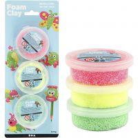 Foam Clay®, light green, neon pink, neon yellow, 3x14 g/ 1 pack