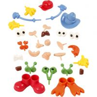 Body Parts, size 0,8-6,8 cm, assorted colours, 26 pc/ 1 pack