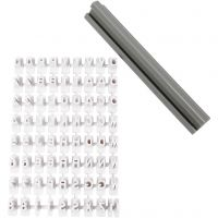 Rubber stamps set, letters, numbers, H: 6 mm, white, 1 set