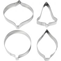 Cookie cutters, bell, bauble, raindrop, prism, H: 8 cm, 4 pc/ 1 pack