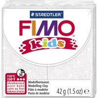 FIMO® Kids Clay, glitter, white, 42 g/ 1 pack