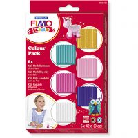 FIMO® Kids Clay, additional colours, 6x42 g/ 1 pack