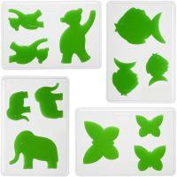 Casting Mould, animals, H: 6+8+10 cm, depth 9 mm, size 14,9x22 cm, 4 pc/ 1 pack