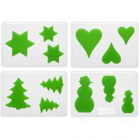 Casting Mould, christmas, H: 6+8+10 cm, depth 9 mm, size 14,9x22 cm, 4 pc/ 1 pack