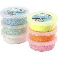 Foam Clay®, glitter, pastel colours, 6x14 g/ 1 pack