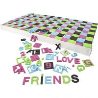 EVA Foam Letters & Numbers, size 30x30 mm, black, green, pink, turquoise, 1800 asstd./ 1 pack