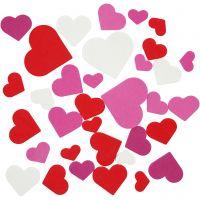 EVA Foam Hearts, size 20-50 mm, assorted colours, 1360 asstd./ 1 pack