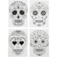 Shrink Plastic Sheets with motives, Skulls, 10,5x14,5 cm, thickness 0,3 mm, matt transparent, 4 sheet/ 1 pack