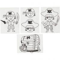 Shrink Plastic Sheets with motives, pirates, 10,5x14,5 cm, thickness 0,3 mm, matt transparent, 4 sheet/ 1 pack