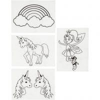 Shrink Plastic Sheets with motives, unicorn, 10,5x14,5 cm, thickness 0,3 mm, matt transparent, 4 sheet/ 1 pack