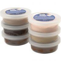 Silk Clay®, skin colours, 6x14 g/ 1 pack