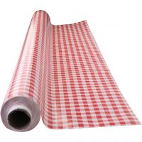 Wax tablecloth, red checks, size 140 cm, 1 rm