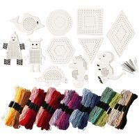 Embroidery figures with embroidery yarn, size 8-17 cm, assorted colours, 1 set