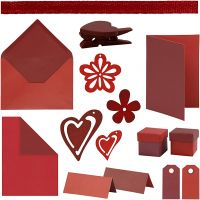 Happy Moments - Card Making Kit, red, claret, red/claret, claret/red, 160 sales units/ 1 pack