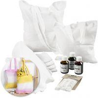 Creative kit – Batik-dyed tea towels and tote bags, 1 set