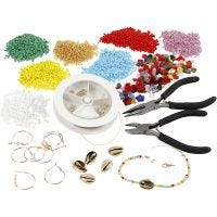Kits– Jewellery making with rocaille seed beads, gold-plated, 1 set