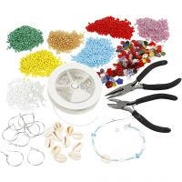 Kits– Jewellery making with rocaille seed beads, silver-plated, 1 set