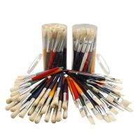 Kids Paint Brushes, round,flat, L: 19 cm, W: 15 mm, 60 pc/ 1 pack
