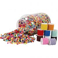 Bucket of Plastic Beads & Elastic Cords, 1 set