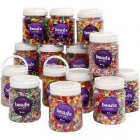 Plastic Beads, size 6-15 mm, hole size 1,5-6 mm, assorted colours, 16x700 ml/ 1 pack