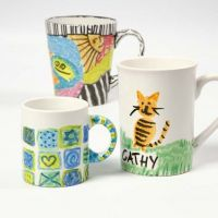Porcelain Mugs decorated with Marker Pens