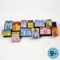 Canvases with Townhouses as a Collage on a Strip of Wood
