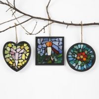 Glass Mosaic set in black Filler in a black-painted wooden Frame