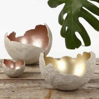 Bowls made from large round Concrete Shells