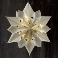 A large and shining Star made from Paper Bags