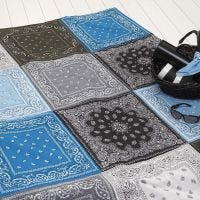 A quilted Blanket made from Bandanas