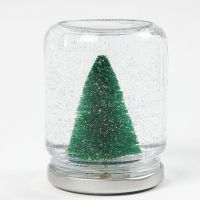 A Jam Jar Snow Globe with Decorations, Snow and Water with Glycerine