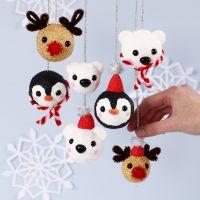 Polar Animal Christmas Baubles from Foam Clay and Silk Clay