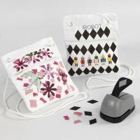 Neck Pouches with a transfer-printed Collage from Color Bar Paper and Magazine Cut-Outs