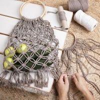A braided shopping bag