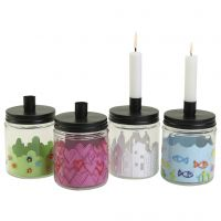 Lovely decorated glass jars with a candle holder
