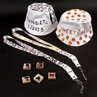 Bucket Hat and Key Straps with Fabric Print