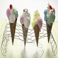 Ice Cream Cones made from Papier-Mâché cones and Silk Clay