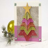 A Card with a Folded Christmas Tree