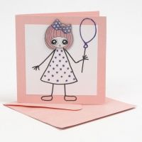 A Card with Girl's Sticker